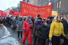 RKU:s banderoll i demonstrationen